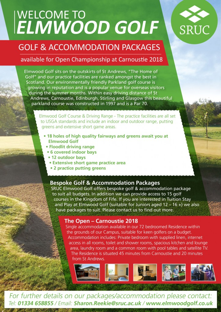 Elmwood Golf Acommodation Packages Leaflet OCTOBER 2017 1 PAGE