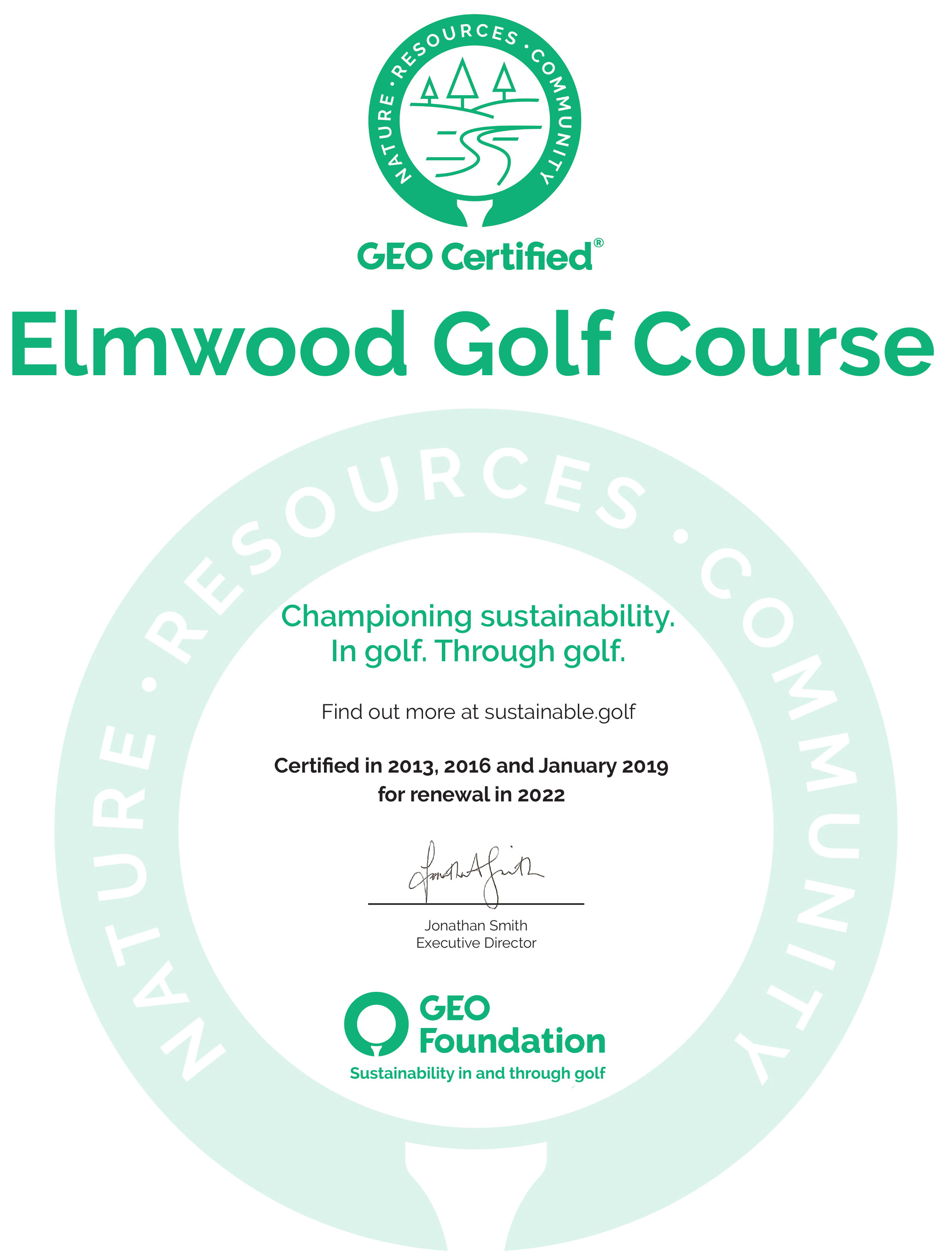 Elmwood third cert 2019